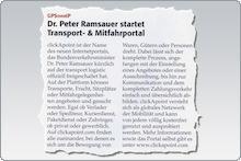 Dr. Peter Ramsauer startet Transport- & Mitfahrportal